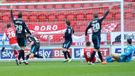 Boro players appeal after Wes Thomas gives Rotherham the lead. Picture: Allan Millard