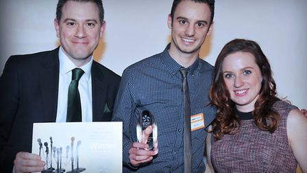 Comet news editor Nick Gill picks up the Free Weekly Newspaper of the Year award from EDF Energy com