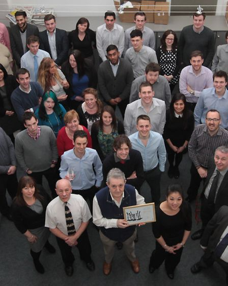 Editorial and advertising staff gather at the Comet's offices in Primett Road, Stevenage