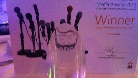 The Comet has been named Free Weekly Newspaper of the Year at an award ceremony held today