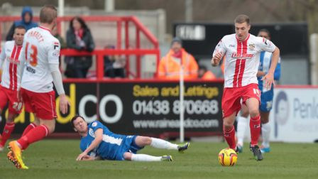 Simon Helsop in action for Stevenage. Photo: Harry Hubbard