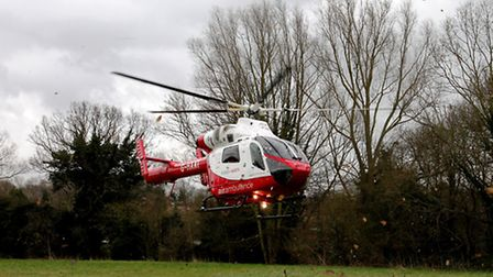 Herts Air Ambulance landed at Pix Brook Common, Letchworth GC yesterday afternoon (Sunday) @AmboOffi