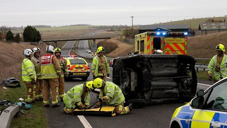 A woman in her 40s was hospitalised following a crash on the A505 - Credit: @AmboOfficer