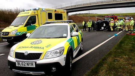 Emergency services were called to the scene of the incident on the A505