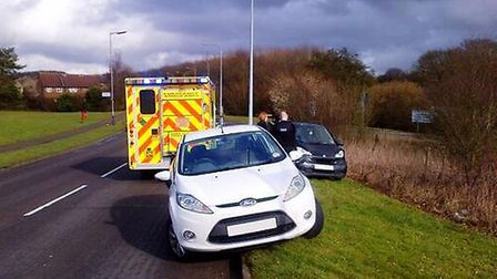 A woman has been hospitalised following a crash on Gresley Way CREDIT: @AmboOfficer via Twitter