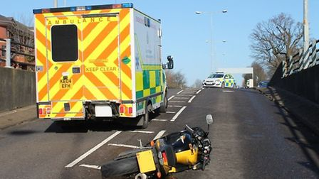A yellow Yamaha motorcycle collided with a silver Peugeot 307 on Gunnels Wood Road, Stevenage this m