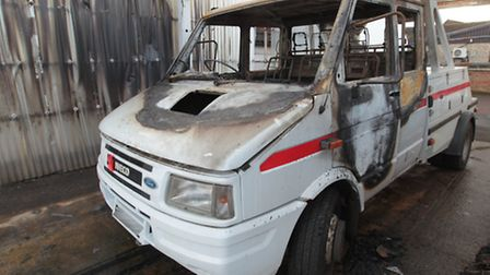 The truck was set on fire on Saturday