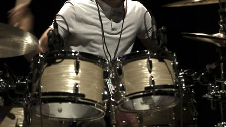Morgan Simpson taking part in the Young Drummer of the Year competition 2014. Credit: Dave Hughes