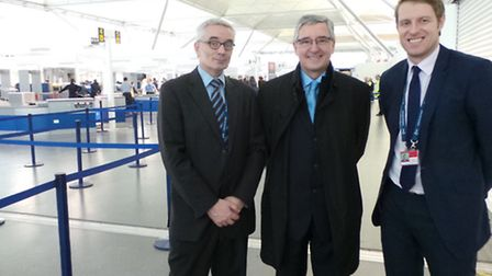 Jim Fitzpatrick MP (centre) with Stansted Airport's transformation manager Neil Banks (left), and he