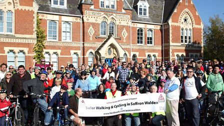 Hundreds of local people gather at Uttlesford District Council offices in October 2011 to show their