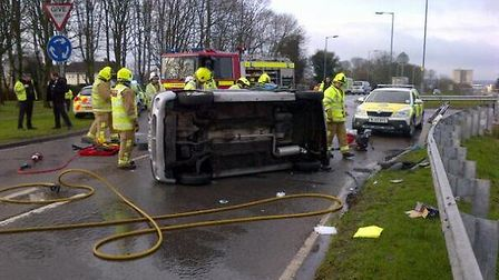 A car overturned on Fairlands Way this morning - Photo by Gary Sanderson