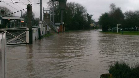 The deluge of water at Elsenham rail station. Pic: Annie Gleeson