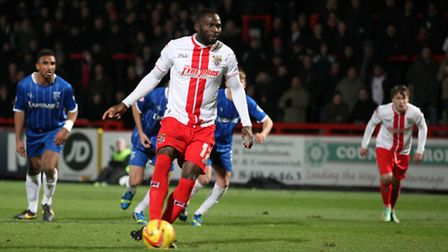 Francois Zoko scores Stevenage's first goal from the spot. Photo: Harry Hubbard