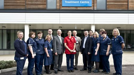Nick Carver, chief executive of the East and North Hertfordshire NHS Trust, and Stephen McPartland,