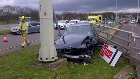 Car collides with road sign outside TKMAX store on Fairlands Way, Stevenage. Pic by Ambo Officer via