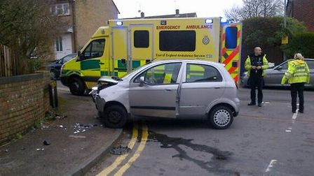 Car collides into wall in Pankhurst Crescent, Stevenage. Pic by Ambo Officer via Twitter
