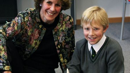 Dr Jo Burch with Year 5 pupil Harry Hughes.