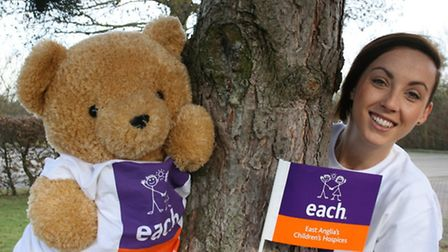 EACH mascot Charley Bear and Sophie Powderly from the charitys Essex fundraising team.