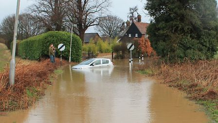 A car abandoned on New Road in Woolmer Green after severe flooding. Sent in by Elaine Bryant