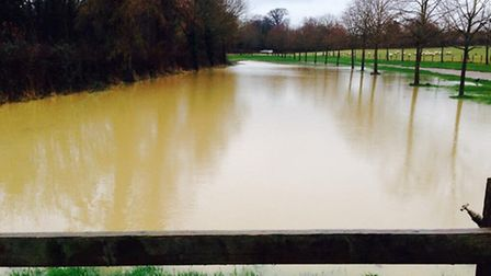 Standalone Farm visitor car park flooded with rain water in Letchworth GC. Photo by Standalone Farm
