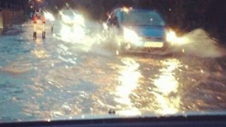 Flooding in Little Wymondley at 7.20am this morning (Friday).