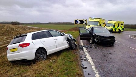 The collision ocurred on the A507 between Baldock and Buntingford. Credit:@AmboOfficer via Twitter