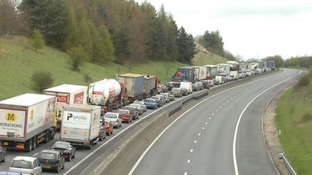 Traffic on the M11 in Essex.