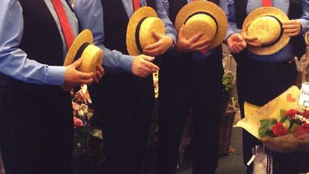 The Double Take Barbershop Quartet serenaded shoppers in Letchworth GC