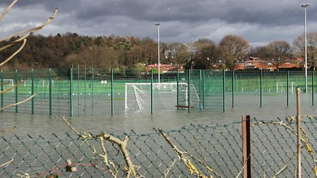 Flooded football pitches of The Football Akademy on Broadhall Way, Stevenage