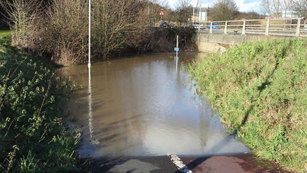 A subway is deep under water near Sainsbury's Coreys Mill store in Stevenage