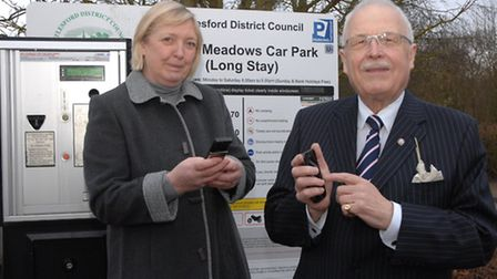 Uttlesford cabinet member with responsibility for parking, Cllr Susan Barker, and her colleague Cllr