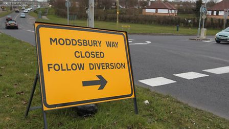 The Mobbsbury Way sign spelt incorrectly