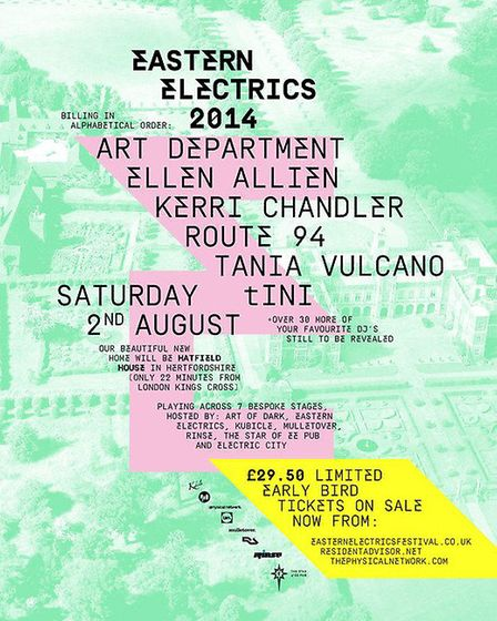 Eastern Electrics 2014 festival will take place at Hatfield House