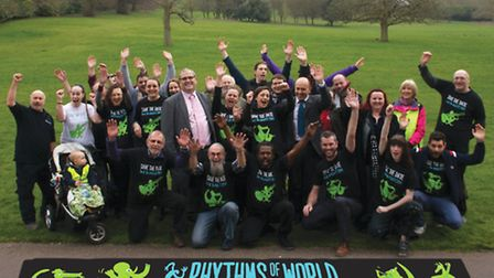 The team from Rhythms of the World in the ground of Hitchin Priory for the launch of the festival