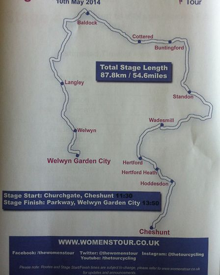 A map showing the route of the Women's Tour 2014 which will pass through Letchworth GC and Baldock t
