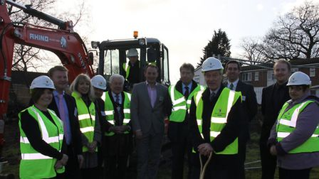 Sir Alan Haselhurst MP leads the soil cutting ceremony at Mead Court, Stansted, on Thursday.