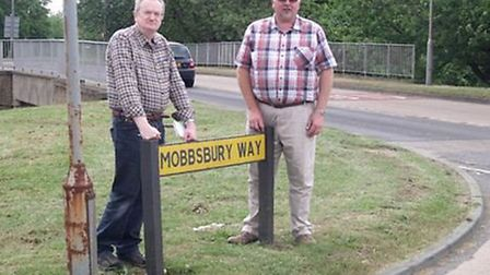 Robin Parker (left) with fellow Stevenage borough councillor Graham Snell in Mobbsbury Way at the ju
