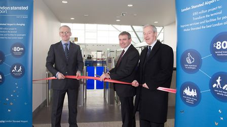 From left, Andrew Harrison, Stansted Airport MD, Aviation Minister, Robert Goodwill MP and Saffron W