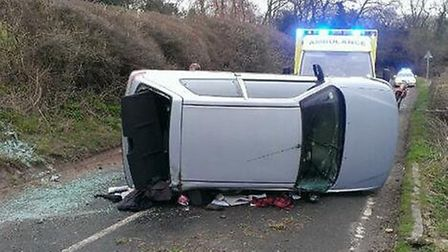 Police and ambulance service were called to Preston Road, Gosmore after a car flipped on its side. P