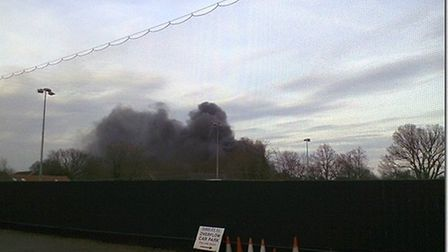 A view of the fire from Takeley Football Club's ground in Station Road.