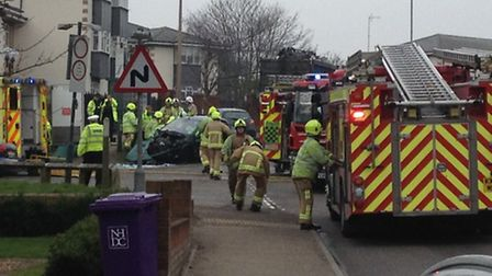 Emergency services at Blackhorse Lane in Hitchin following a crash between a car and a lorry in whic