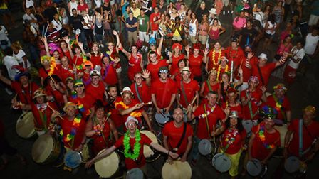 A group of 45 musicians including participants from Toque Tambor in Hitchin took to the clubs and st