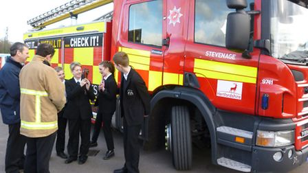 Barclay School students try out the thermal imaging camera with the Herts Fire and Rescue Service te