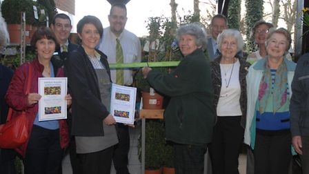 Store partners and members of Saffron Walden Horticultural Society at the official unveiling on Mond