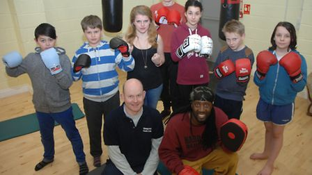 Front, Newport Youth Centre's Andrew Yarwood and Tony Kamau (right) who has founded Newport & Saffro