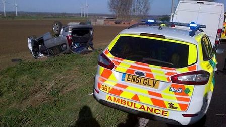 A two car collision left one car overturned this morning (Friday) on the A1 near Stotfold credit: @A