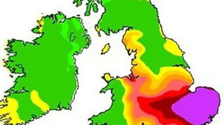 A Met Office forecast for the UK today (Thursday) with the purple area, which includes Uttlesford, i