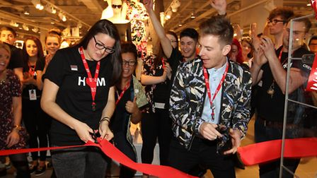 Tasha Garwell and Matt Lacey from H&M opening the new store in Westgate Shopping Centre in Stevenage