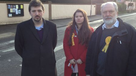 From left, Rory Gleeson, leader of Uttlesford's Liberal Democrat group Cllr Elizabeth Parr and Mike