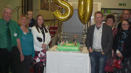Committee members of Saffron Walden County High School Farm Club during the 50th anniversary celebra